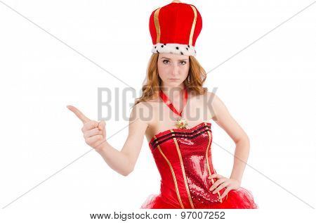 Red hair girl in carnival costume isolated on white