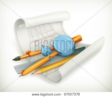 Compass ruler and pencil, technical drawing vector icon