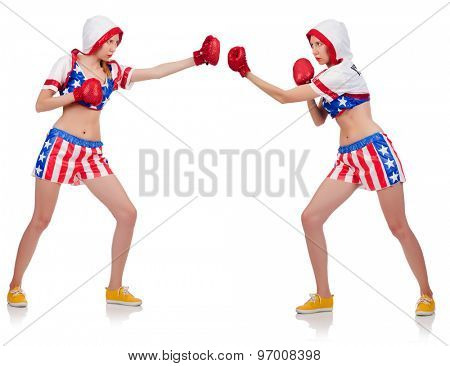 Women boxing isolated on white
