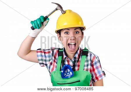Female worker with hammer isolated on white