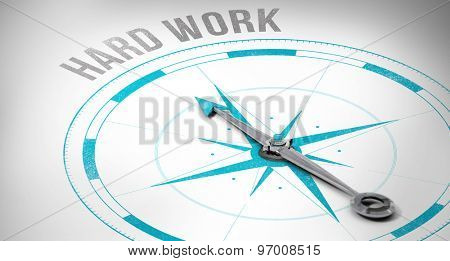 The word hard work against compass