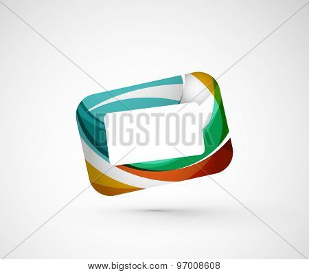 Abstract geometric company logo frame, screen. Vector illustration of universal shape concept made of various wave overlapping elements