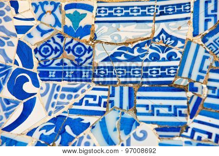BARCELONA, SPAIN - MAY 02: Gaudi's mosaic work on the main terrace at Parc Guell. Park Guell is a public park system composed of gardens and architectonic elements. Barcelona, Spain, May 02 2015