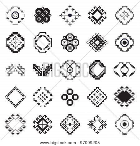 Vector Tribal Elements, Ethnic Collection  Isolated On White Background