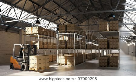 Forklift carrying pallet with boxes in a warehouse (3D Rendering)
