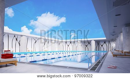 Swimming pool in hotel under blue sky with white clouds in summer (3D Rendering)