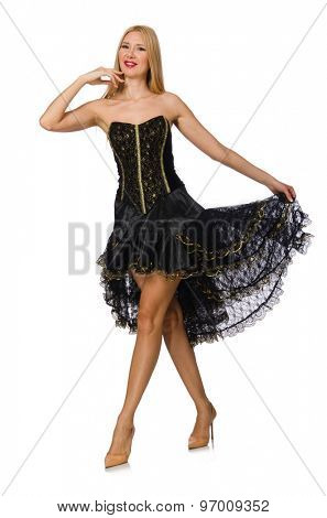 Blond hair girl in black evening dress isolated on white