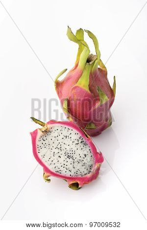 Pink and White Dragon Fruit - Strawberry Pear on a white background