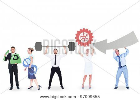Business people holding icons in their hands