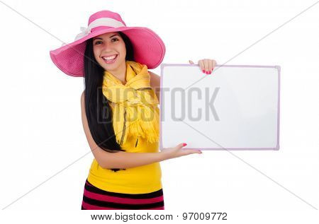 Young girl in hat with poster isolated on white