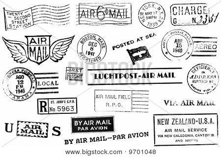 Reihe von neunzehn Vintage-Post-Marken