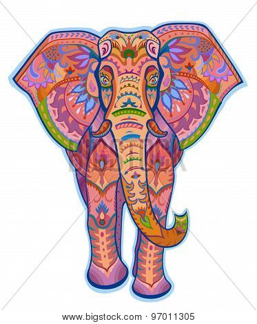 Ethnic Ornamented Color Elephant