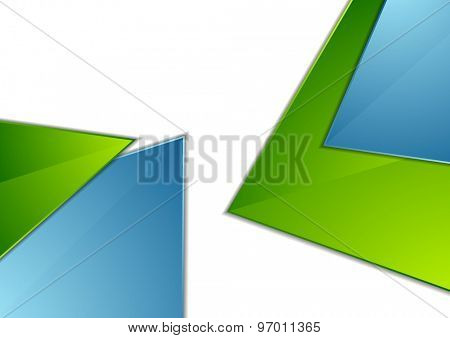 Abstract blue and green angles corporate geometric background. Vector illustration template