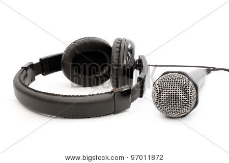 Black Earphones And Microphone