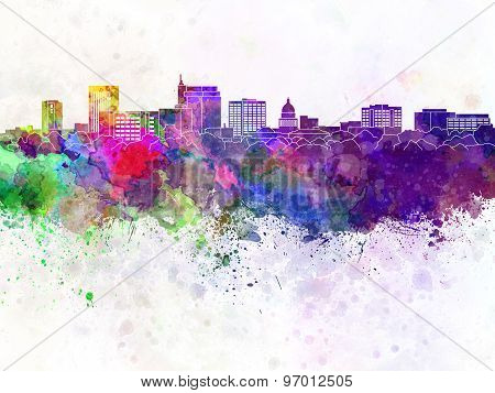 Boise Skyline In Watercolor Background