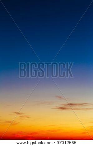 Orange, Yellow Blue Sunrise Sky With Sunlight Sunset Background