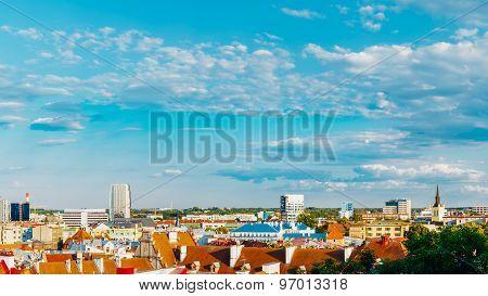 Panorama Panoramic Scenic View Cityscape City Town Tallinn, Esto