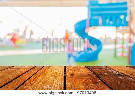 Blur Image Of Children's Playground At Public Park .