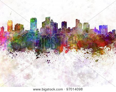 Fort Lauderdale Fl Skyline In Watercolor Background