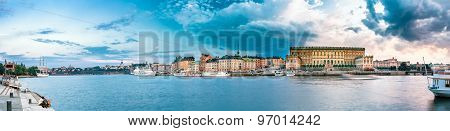 Panoramic View of Embankment In Old Part Of Stockholm - Gamla St