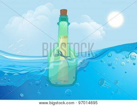 Bottle with message floating in the ocean waves