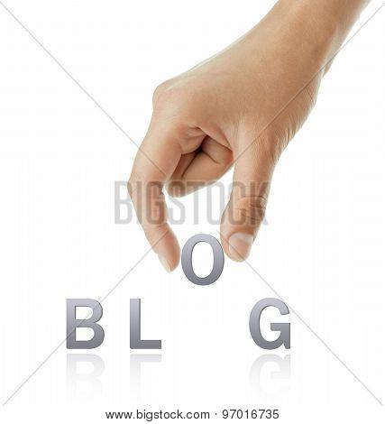 Hand And Blog Word