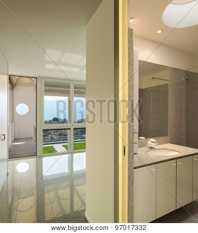 Architecture, interior of a modern house, bathroom view