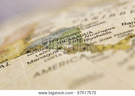 macro of Nicaragua on globe