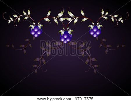Pattern of blackberries on a purple base. EPS10 vector illustration