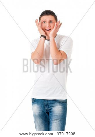 Shocked young man, isolated on white background