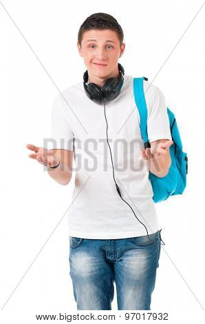 Boy student with backpack and earphones, isolated on white background