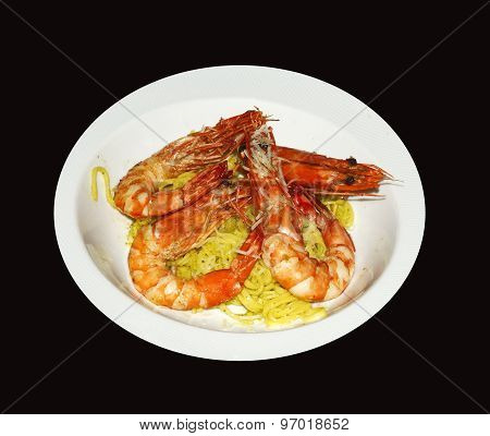 Fresh Shrimp with noodles on a plate