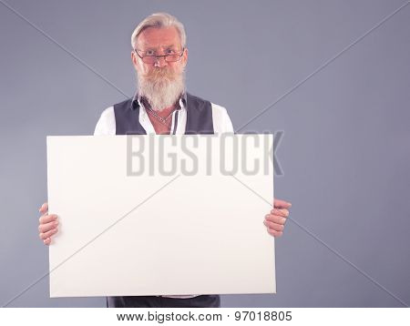 Beard Man With White Panel
