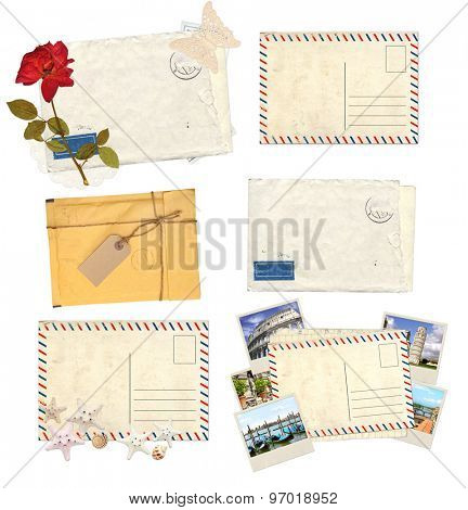 Collection of old envelopes with label, retro postcards for scrapbooking design. Isolated on white background