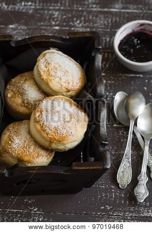 English Scones For Breakfast In A Vintage Tray On Brown Wooden Background