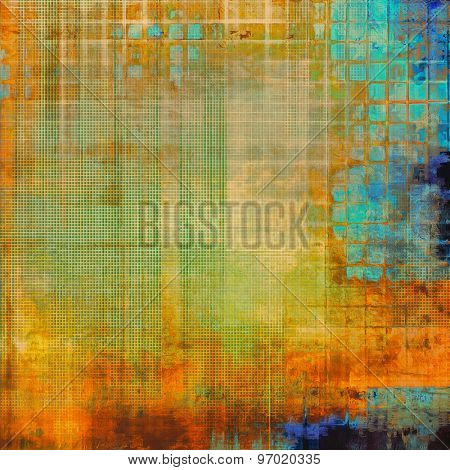Aging grunge texture, old illustration. With different color patterns: yellow (beige); brown; blue; green