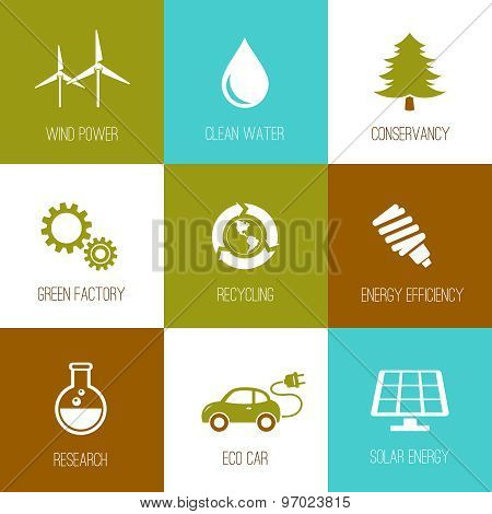 Ecology And Nature Conservation Icons Flat Designed