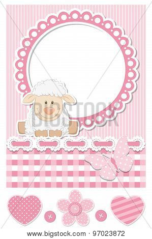 Happy Baby Sheep Pink Scrapbook Set
