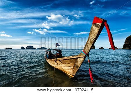 Thai Long tail boat on sunset, Krabi, Thailand
