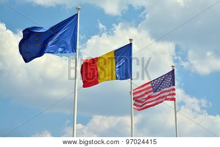 European Union, Romanian And American Flag