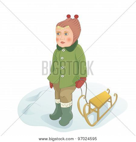 Baby girl stands on the snow with sled. Handmade drawing vector illustration.