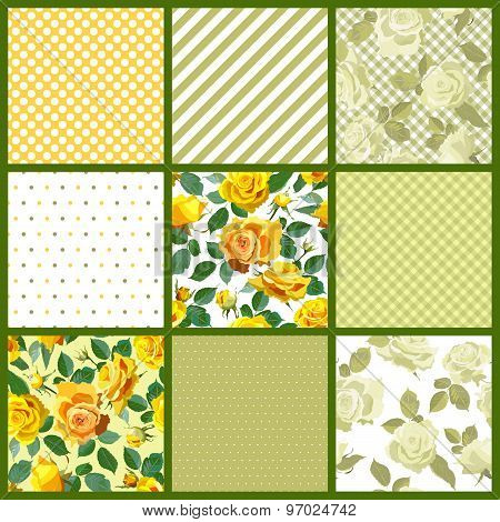 Seamless pattern background. Patchwork tiles.