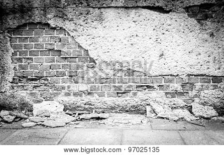 Old wall bricks and plaster