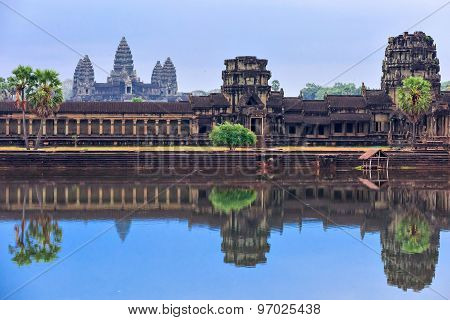 Angkor Wat Temple Complex View At The Main Entrance, Located Near Siem Reap, Cambodia