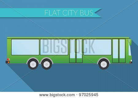 Flat Design Vector Illustration City Transportation, City Bus, Side View