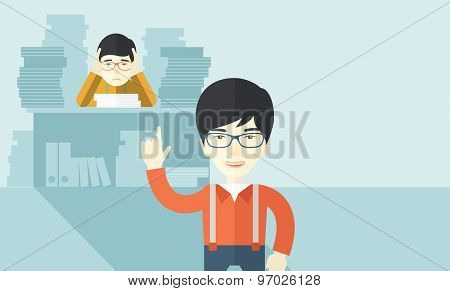 An asian office clerk has a lot of works to do with those papers infront of him, problem on how to meet the deadline of his report. Disappointment concept. A Contemporary style with pastel palette