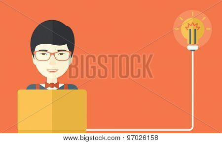 A japanese Businessman with his laptop has an idea. Idea concept. A Contemporary style with pastel palette, orange tinted background. Vector flat design illustration. Horizontal layout.