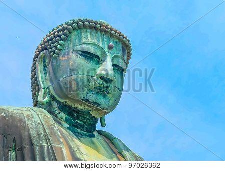 Image Of Great Buddha Bronze Statue In Kamakura, Kotokuin Temple,japan.