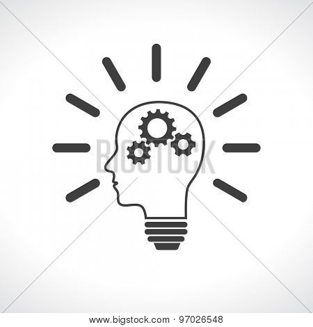 head lightbulb with gears teamwork