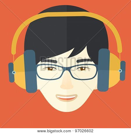 A Happy Chinese young guy listening to music with headphones. Happy concept. A Contemporary style with pastel palette, orange tinted background. Vector flat design illustration. Square layout.